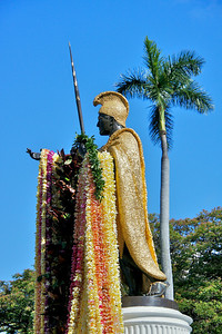 Statue with All Leis Draped