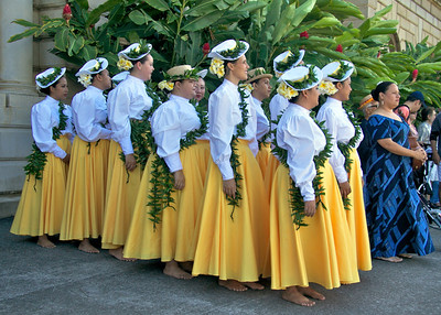 Hula Dancers Waiting to Perform