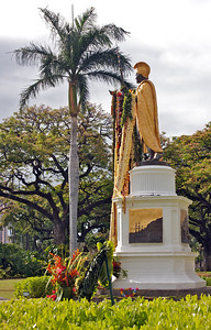 Another View of the Statue with Leis
