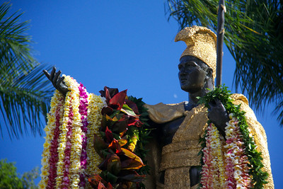 Upper Statue with All Leis Draped