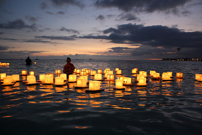 Floating Lantern and Sunset