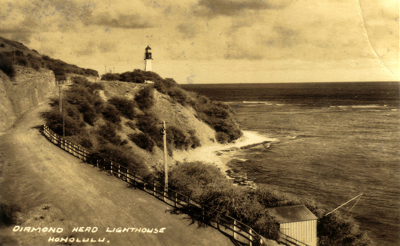 An early 20th century view of the Diamond Head Light Station from an old postcard.  The road was one of the improvements when the light was built, a far cry from its appearance today.  Aloha a hui hou!