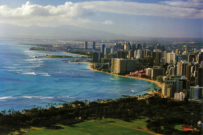 A view of Honolulu from a point just above the Diamond Head Lighthouse.