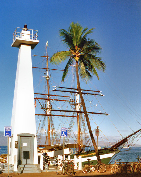 In 1917 the present 40 foot reinforced concrete pyramidal tower was constructed as the prototype to be used throughout the islands.  A ladder on the side led to an automated acetylene light which was converted to electricity in 1937.  In 2009 the light was solarized.  Today the Lahaina Harbor Light flashes a red diode every 7.5 seconds.  It is maintained by the Lahaina Restoration Foundation as a historical site.