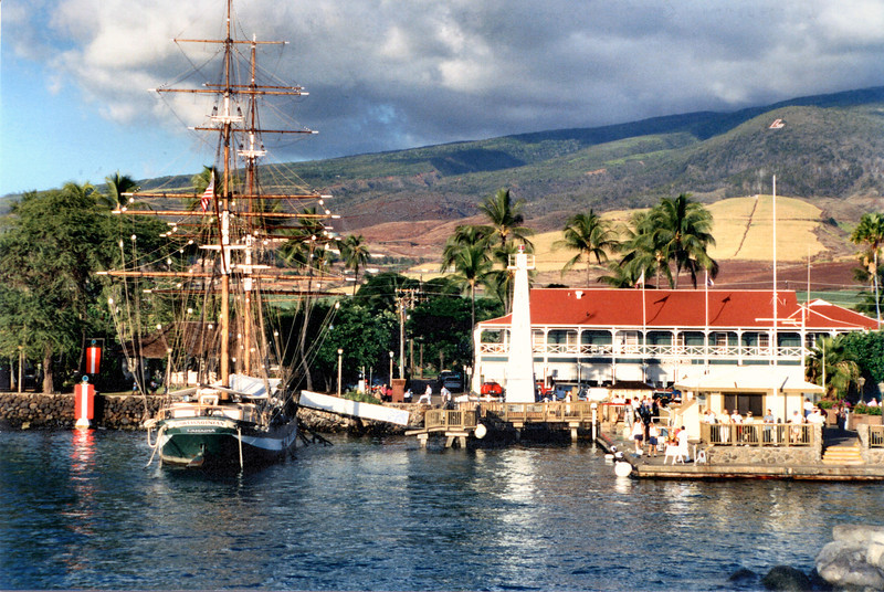 Although it lacked a deep anchorage for ships Lahaina provided a sheltered area which became popular with whaling ships in the early 1800's.  The ships would arrive to reprovision and make repairs and enjoy the local hospitality.  In 1840 King Kamehameha ordered a lighted navigational aid to be built to aid the ships sailing into Lahaina.  A nine foot tall box-like structure with 2 whale oil lamps was completed and lit on November 4, 1840.  This light predated the first U.S. west coast lighthouses by 14 years.