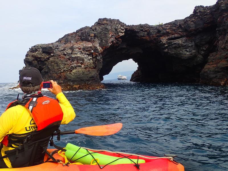 Hawaii, UnCruise Adventures, Safari Explorer Framed by Sea Cave, Big Island Hawaii