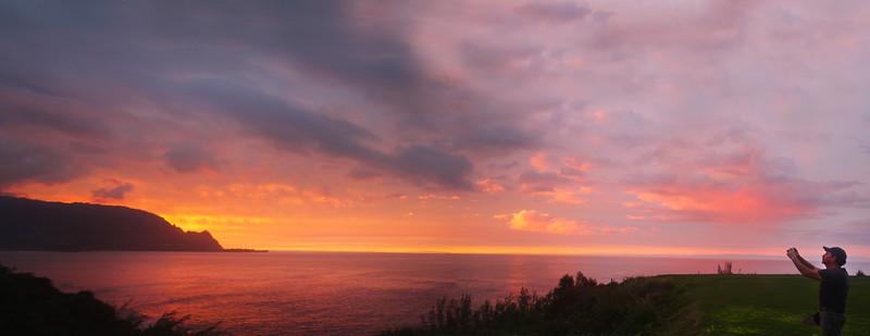 Hawaii, Kauai, Winter Sunset Over Hanalei Bay from Makai Golf Course