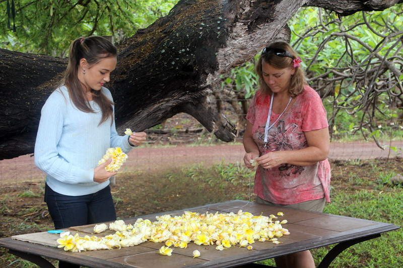 Hawaii, UnCruise Adventures, Molokai, Making Leis