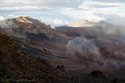 Swirling Clouds over the Crater