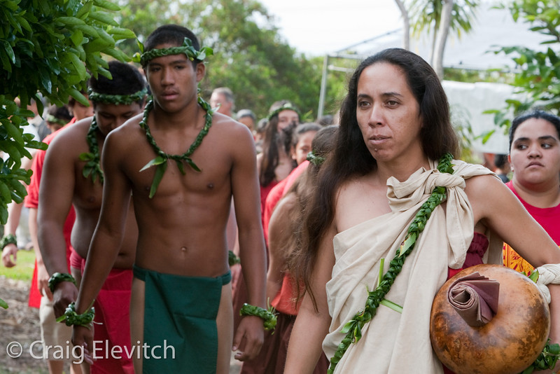 Students from Kanu O Ka 'Aina with Kumu Nicole Anakolea participate in the opening ceremony.