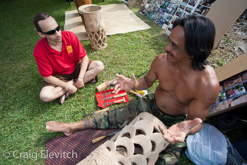 Keoni Turalde, master drum maker, demonstrates his craft.