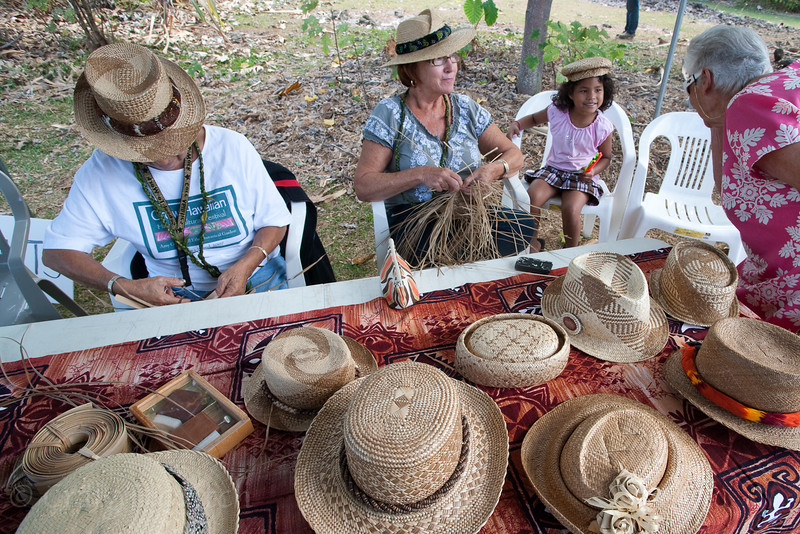 Photo op at the weaving table with Lehua Domingo and Margaret Lovett.