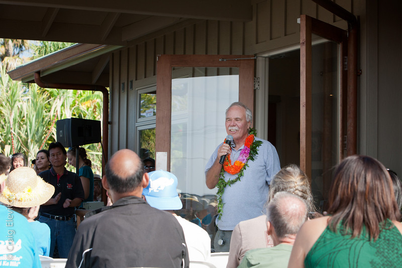 Peter van Dyke, garden manager since 1993, opened the dedication ceremony.
