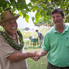 Garden manager Peter van Dyke thanks National Tropical Botanical Garden director Chipper Wichman for participating in the festival.