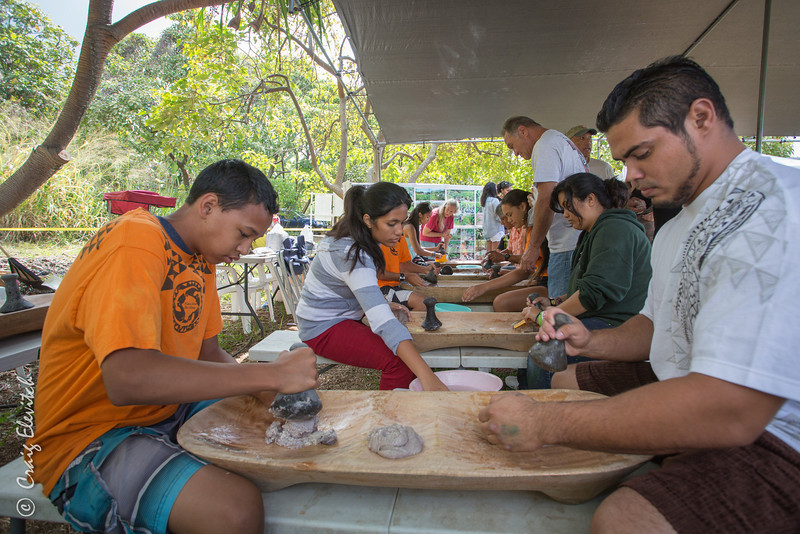 Many got to try their hand at pounding taro into pa'i 'ai (for poi).