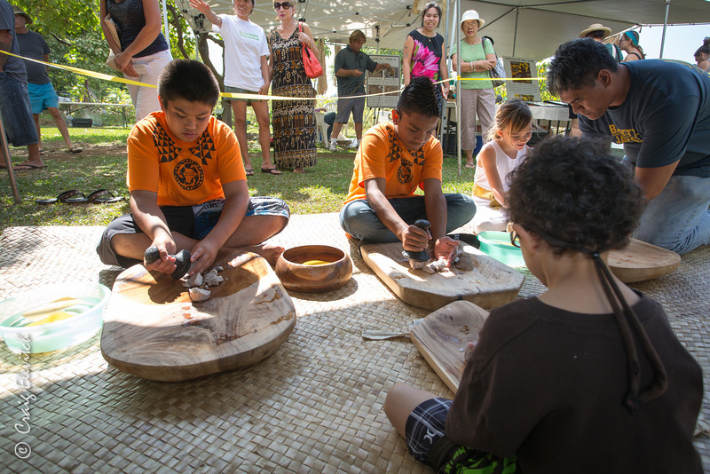 Keiki learn to pound taro in the traditional way (for poi).