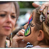 Face painting is popular with the children.