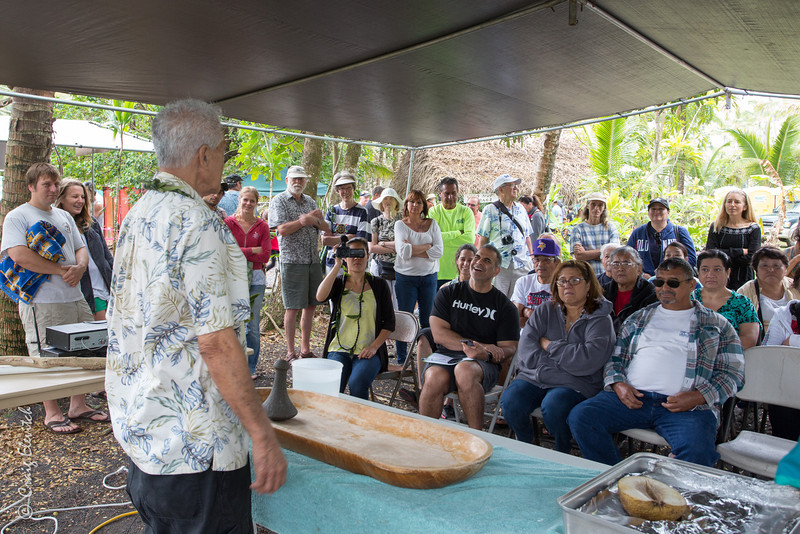 'Anakala Isaia Kealoha presents in Hawaiian language for an entralled audience.