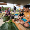 Kumu Wesley Sen and Ilima Choy demonstrate the art of kapa 'ulu (tapa with breadfruit bark).