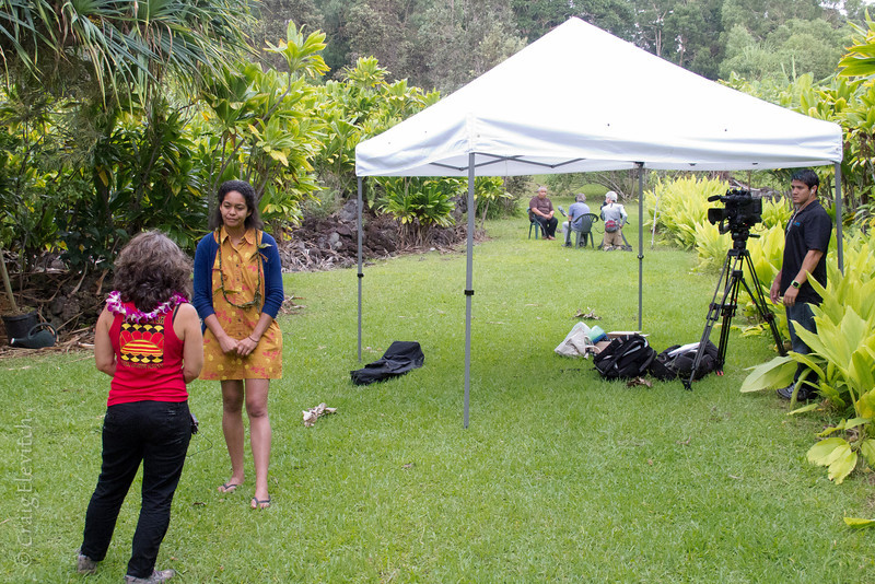 The event was well-covered by media including Kainoa Rudolfo of 'Oiwi TV assisted by Katie Mamelamela of UH Manoa (foreground).