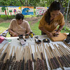 'Ohe kapala (bamboo stamp artwork) with George Place and Chantal Chung