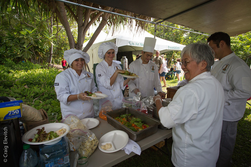 Students of the West Hawai'i Community College Culinary Arts Program serve the buffet lunch.