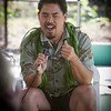 "Sam Gon performs a traditional chant in the ""Future of Hawaiian Forests"" panel."