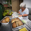 Auntie Shirley Kauhaihao of Ke'ei, South Kona, prepares ingredients for her cooking demonstration in the early hours.