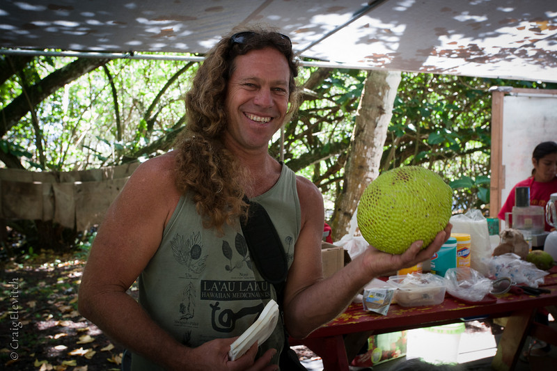 Mark Franklin holds up a 'Lepit' 'ulu.