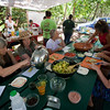 Workshop participants prepare several 100% locally grown 'ulu dishes with Mariposa's guidance.