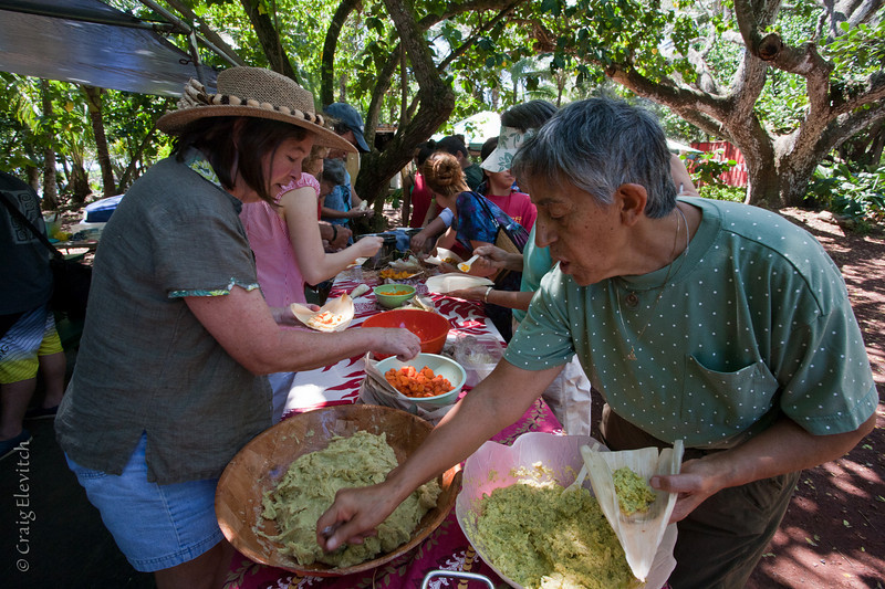 Participants put together 'ulu tamales with 100% locally grown ingredients.