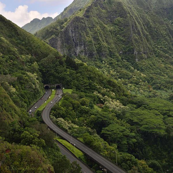 Nuuanu Pali Tunnel from the Windward Side