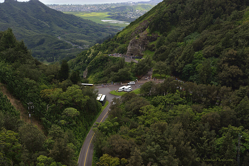 Pali Overlook & the Old Pali Road from the Honolulu Side