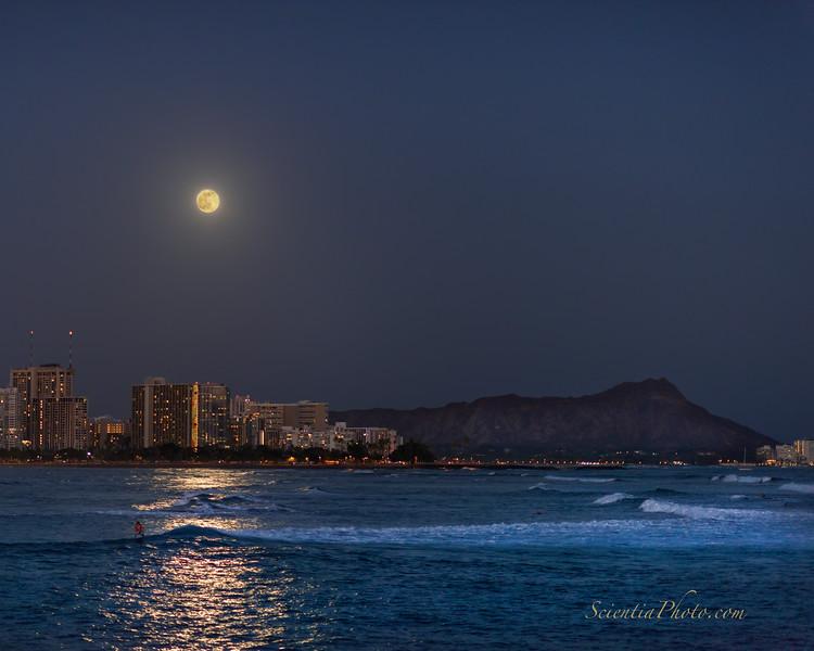 The Full Moon Rises Over the Hilton Hawaiian Village in Waikiki