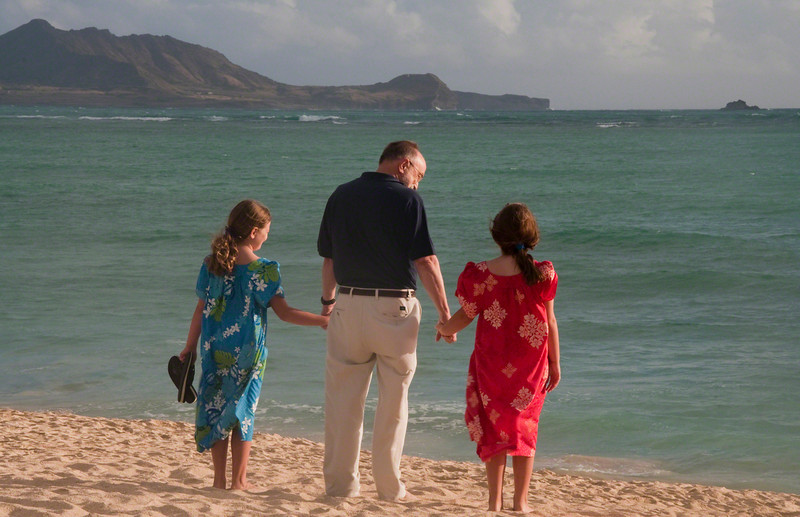 Grandfather and Granddaughters at Kailua Beach (2009)
