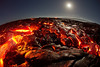 A World of Molten Lava<br />  October 30th, 2012<br /> <br /> A setting full moon looks star-like through the fisheye lens and creates a seemingly massive  molten lavascape.<br /> <br /> IMAGE # PAHOEHOE_0215
