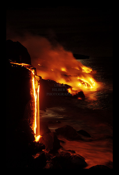 ~ Molten Lava Pours Into Ocean On Moonlit Night ~ <br />  <br /> The light of a full Winter Solstice moon reflects along the ocean where Pele meets it.<br /> Island of Hawaii