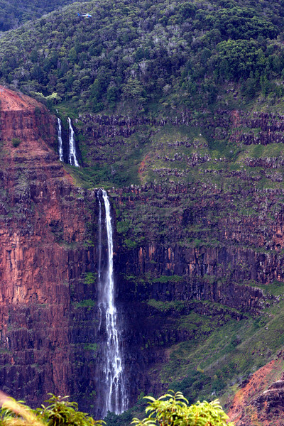 Waipo`o Falls, North side of Waimea Canyon, Kauai, Hawaii<br /> <br /> ~ Check out the helicopter for perspective!