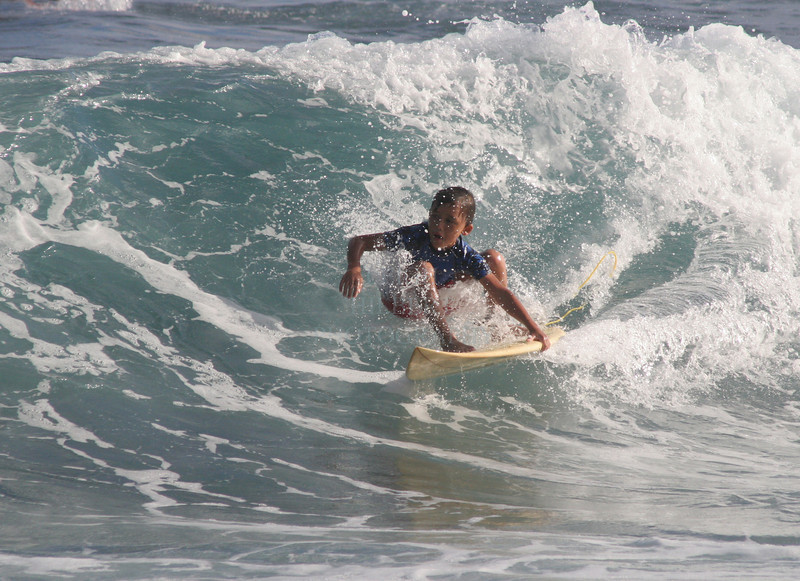 Pono! I watched this kid learn to surf from a baby with his dad Steve. Now, at 'older' age, he rips waves well!