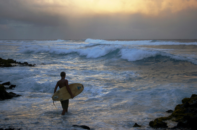 End of the day surf session<br /> - Island of Hawaii