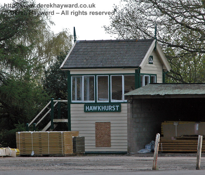 Hawkhurst Signal Box preserved within the former site of Hawkhurst Station, on an industrial estate at Gill's Green, Kent.  24.04.2004.    It is understood that this building may have been dismantled in 2012.