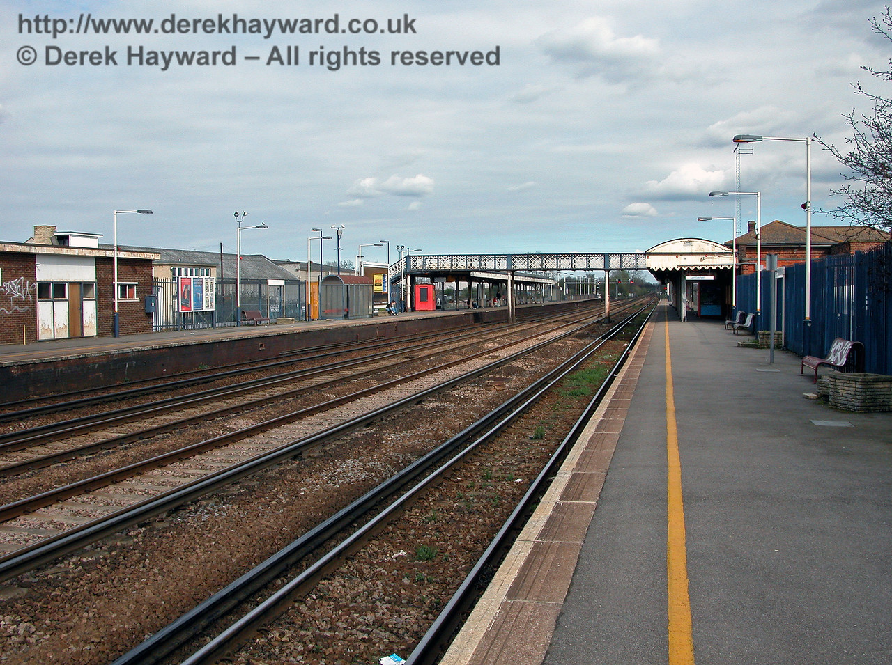 Looking east at Paddock Wood station from platform level.  12.04.2004