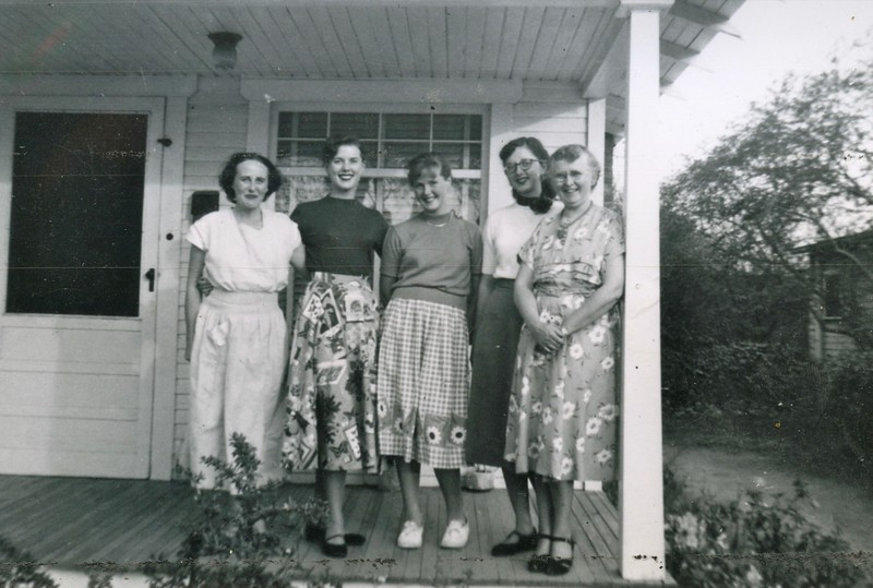 Mom Cotton, Rona and Carol Cotton with Pat and Peggie McGuire.  Pat taught Rona how to play the piano. They are all on our front porch at 11832 Grevillea Avenue, Hawthorne, CA