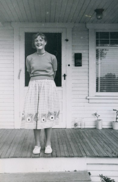 Carol Cotton standing on our front porch on Grevillea Avenue in Hawthorne, CA