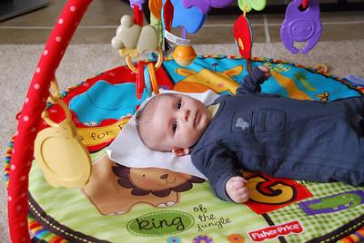 playing on playmat that Grandpa Lemke got him, loves it!
