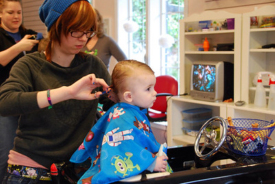 12, March 4th:  Hayden's first haircut