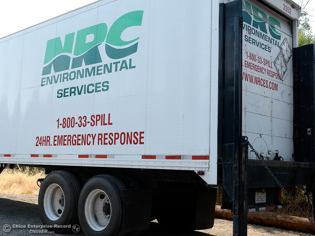 . An NRC truck used to dispose of toxic waste is seen at a staging area while Department of Toxic Substances Control and representatives from NRC search through the ashes of homes burned during the Wall Fire for toxic substances and hazardous waste Wed. Aug. 2, 2017. (Bill Husa -- Enterprise-Record)