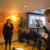 Benedicte Giæver live streamed to the NRC family around the world at the Workspace launch in Oslo 16. February 2017. Max Lotteries is the master behind the camera. Photo: NRC/Ingebjørg Kårstad