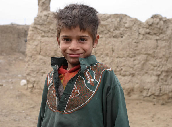 Young boy at IDP settlement in Kabul, Afghanistan