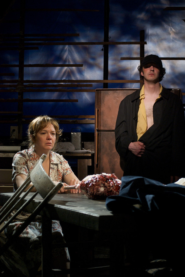 Curse of the Starving Class - New Leaf Theatre, 2010<br /> <br /> (l to r) Victoria Gilbert and Layne Manzer<br /> Director: Kyra Lewandowski<br /> Lighting Design: Jared Moore<br /> Set Design: Michelle Lilly O'Brien
